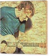 Ed Sheeran And Guitar Wood Print