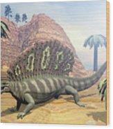 Edaphosaurus Dinosaur - 3d Render Wood Print