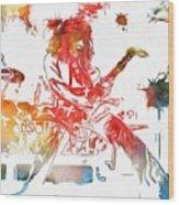 Eddie Van Halen Paint Splatter Wood Print