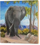 Eddy Elephant Wood Print