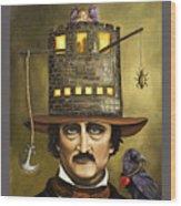 Edgar Allan Poe With Lettering Wood Print