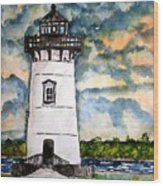 Edgartown Lighthouse Martha's Vineyard Mass Wood Print