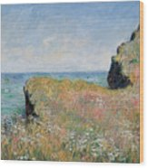 Edge Of The Cliff Pourville Wood Print by Claude Monet