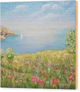 Edge Of The Cliffs By The Sea Wood Print