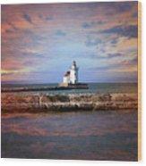Edgewater Lighthouse Sunset Wood Print