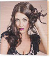 Edgy Hair Fashion Model With Brunette Hairstyle Wood Print