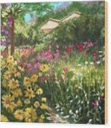 Edie's Garden Wood Print