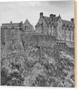 Edinburgh Castle Bw Wood Print
