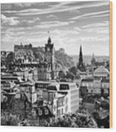Edinburgh From Calton Hill.    Black And White Wood Print