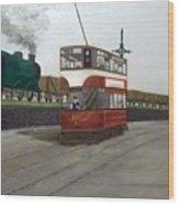 Edinburgh Tram With Goods Train Wood Print