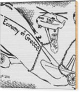 Editorial Maze Cartoon - Economy Of Greece By Yonatan Frimer Wood Print