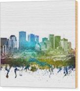 Edmonton Cityscape 01 Wood Print