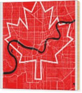 Edmonton Street Map - Edmonton Canada Road Map Art On Canada Flag Symbols Wood Print