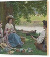 Edmund Blair Leighton 1852-1922 A Picnic Party Wood Print