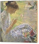 Edmund Charles Tarbell - Mercie Cutting Flowers 1912 Wood Print