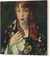 Edna Smith In A Japanese Wrap 1915 Wood Print