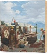 Eduardo Matania - Fishing Family In The Bay Of Naples 1872 Wood Print