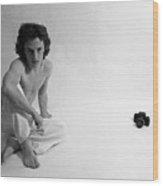 Edward Acker Portrait With Nikon Wood Print