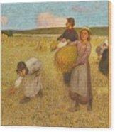 Edward Stott, A.r.a. 1859-1918 Harvesters Wood Print