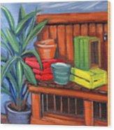 Edwards Nursery Potting Bench Wood Print