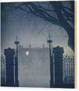 Eerie Mansion In Fog At Night Wood Print