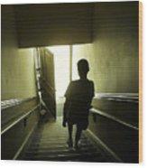Eerie Stairwell Wood Print