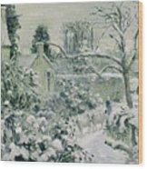 Effect Of Snow With Cows At Montfoucault Wood Print by Camille Pissarro