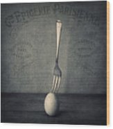 Egg And Fork Wood Print by Ian Barber
