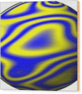 Egg In Space Blue And Yellow Wood Print