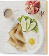 Egg Salad Toast Fruit And Coffee Breakfast Set Wood Print
