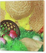 Eggs And A Bonnet For Easter Wood Print