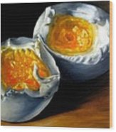 Eggs Contemporary Oil Painting On Canvas  Wood Print