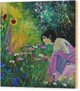 Eglantine With Flowers Wood Print