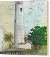 Egmont Key Lighthouse Fl Nautical Map Wood Print