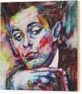 Egon Schiele - Watercolor Portrait.2 Wood Print