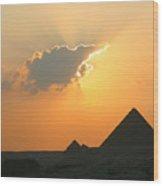 Egpytian Sunset Behind Cloud Wood Print
