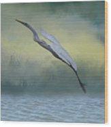 Egret Art I With Foreground Fog  Wood Print