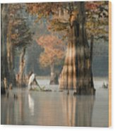 Egret Enjoying Foggy Morning In Atchafalaya Wood Print