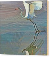 Egret Getting Ready For Take Off Wood Print