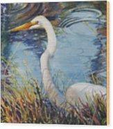 Egret In Cameron Marsh Wood Print