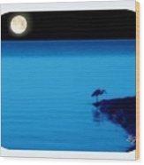 Egret In Full Moon Night Wood Print