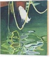 Egret On A Rope Wood Print