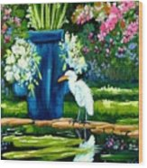 Egret Visits Goldfish Pond Wood Print
