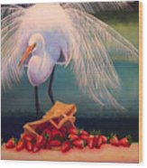 Egret With Strawberry Bag Wood Print