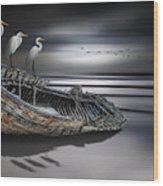 Egrets Watching Wood Print