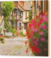 Half-timbered House, Eguisheim, Alsace, France  Wood Print