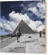 Egypt - Clouds Over Pyramid Wood Print