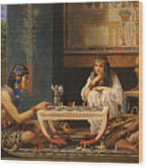 Egyptian Chess Players Wood Print by Sir Lawrence Alma-Tadema