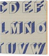 Egyptian For Carving Vintage Blue Font Design Wood Print
