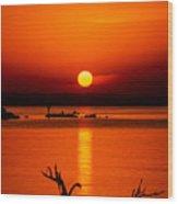 Egyptian Sunrise On Lake Nasser Wood Print